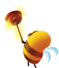 bee carrying plunger