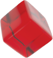 red translucent cube